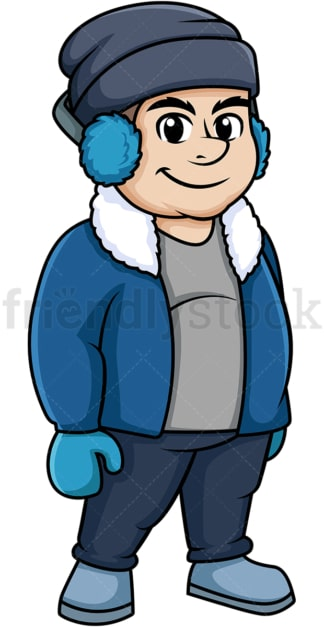 Fat guy dressed for winter. PNG - JPG and vector EPS (infinitely scalable).