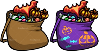 Halloween candy bags. PNG - JPG and vector EPS file formats (infinitely scalable). Image isolated on transparent background.