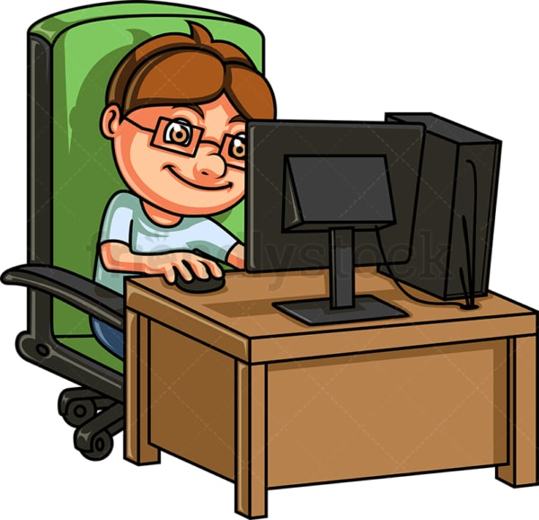 Little boy PC gamer. PNG - JPG and vector EPS (infinitely scalable).