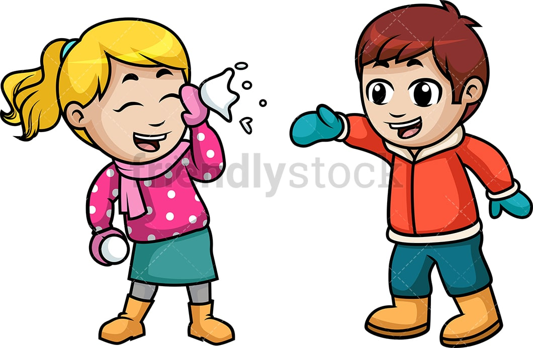 Kids Throwing Snowballs At Each Other Cartoon Vector