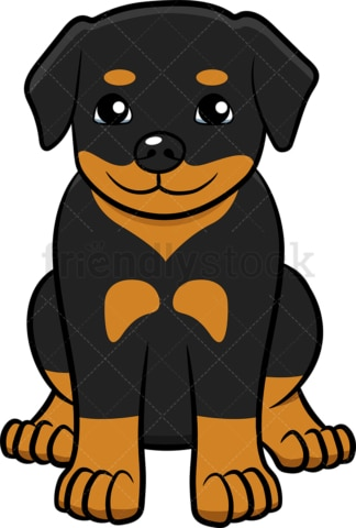 Little rottweiler puppy sitting. PNG - JPG and vector EPS (infinitely scalable).