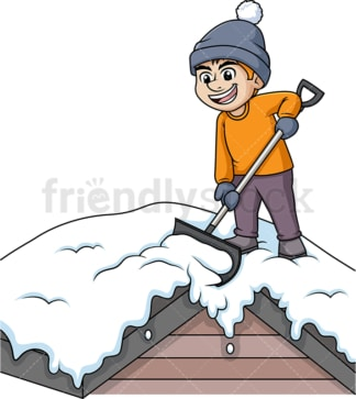 Man shoveling snow off of roof top. PNG - JPG and vector EPS (infinitely scalable).