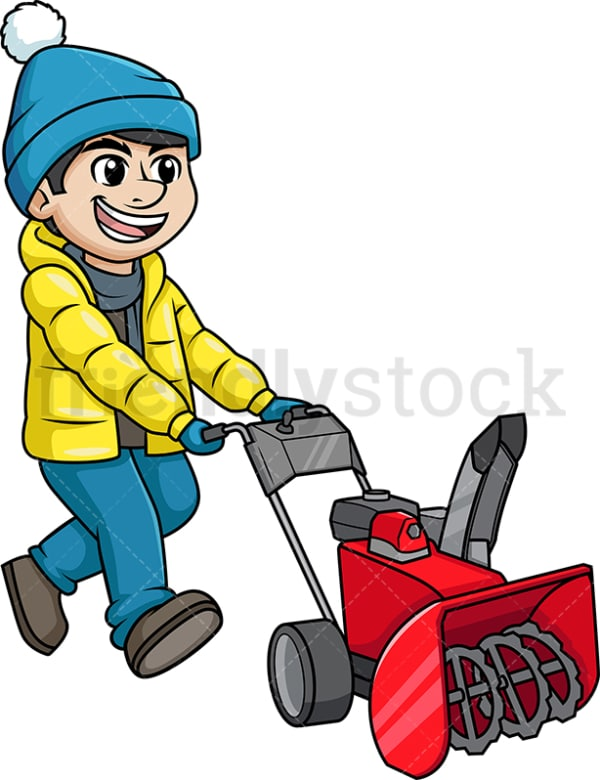 Happy man using snowplow. PNG - JPG and vector EPS (infinitely scalable).