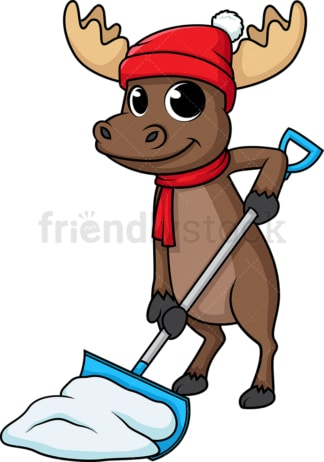 Moose shoveling snow. PNG - JPG and vector EPS (infinitely scalable).