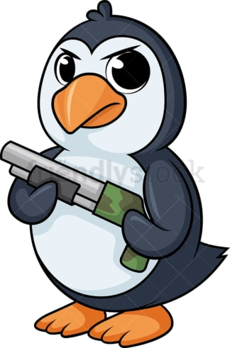 Penguin holding gun cartoon. PNG - JPG and vector EPS (infinitely scalable).