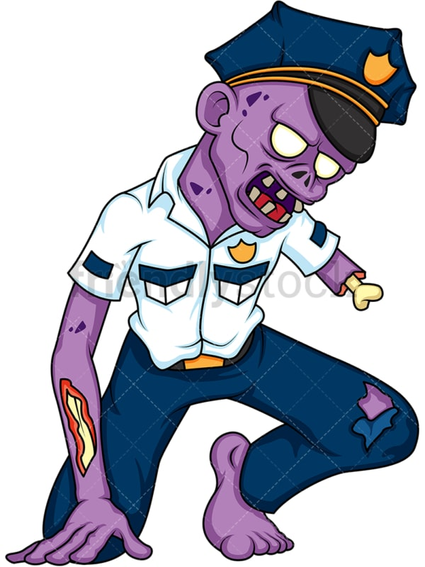 Policeman zombie. PNG - JPG and vector EPS (infinitely scalable).