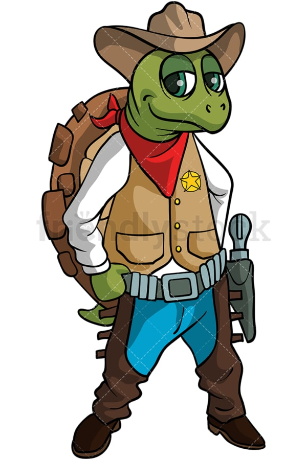 Turtle cowboy cartoon. PNG - JPG and vector EPS (infinitely scalable).