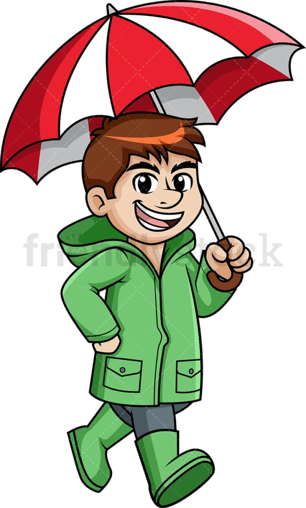 Man holding umbrella in the rain. PNG - JPG and vector EPS (infinitely scalable).