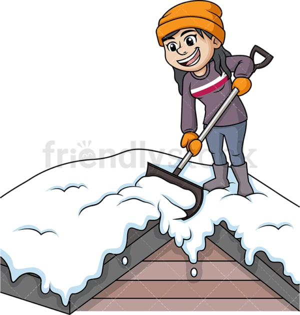 Woman shoveling snow off of rooftop. PNG - JPG and vector EPS (infinitely scalable).