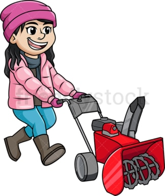 Girl using snow blower. PNG - JPG and vector EPS (infinitely scalable).