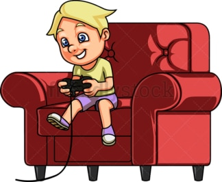 Kid playing a video game. PNG - JPG and vector EPS (infinitely scalable).