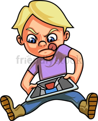 Boy playing video game on tablet. PNG - JPG and vector EPS (infinitely scalable).