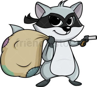 Criminal raccoon holding pistol cartoon. PNG - JPG and vector EPS (infinitely scalable).