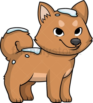 Cute dog out in the snow. PNG - JPG and vector EPS (infinitely scalable).