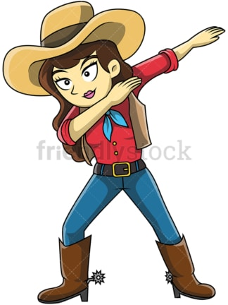 Dabbing cowgirl cartoon. PNG - JPG and vector EPS (infinitely scalable).