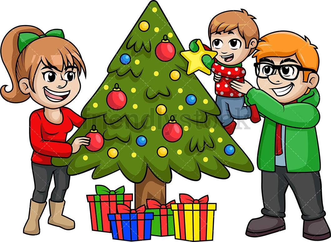 Family Decorating Christmas Tree Cartoon Vector Clipart