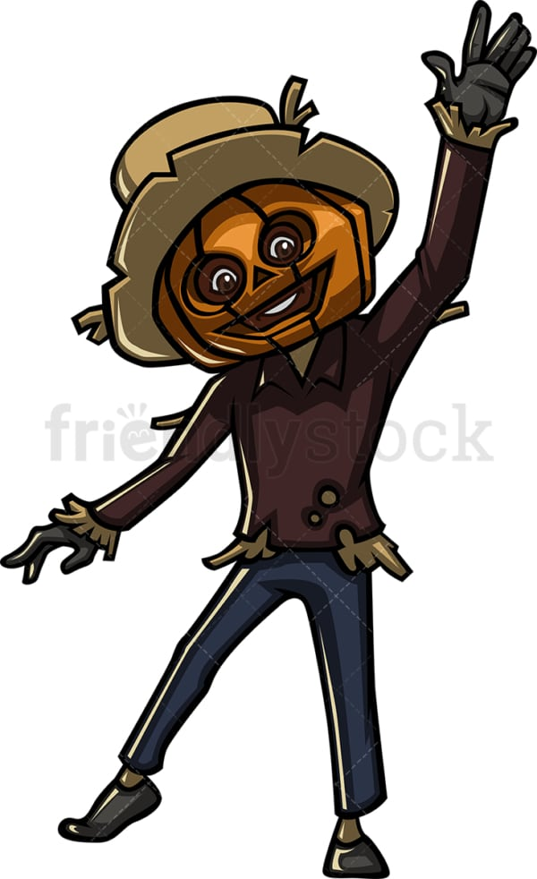 Friendly pumpkin scarecrow cartoon character. PNG - JPG and vector EPS (infinitely scalable).
