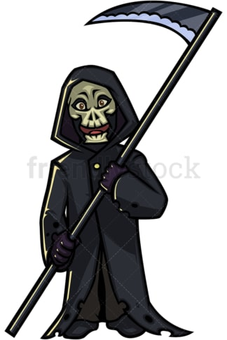 Halloween grim reaper cartoon character. PNG - JPG and vector EPS (infinitely scalable).