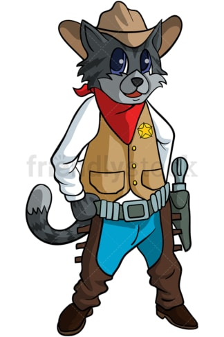 Kitty cat cowboy cartoon. PNG - JPG and vector EPS (infinitely scalable).