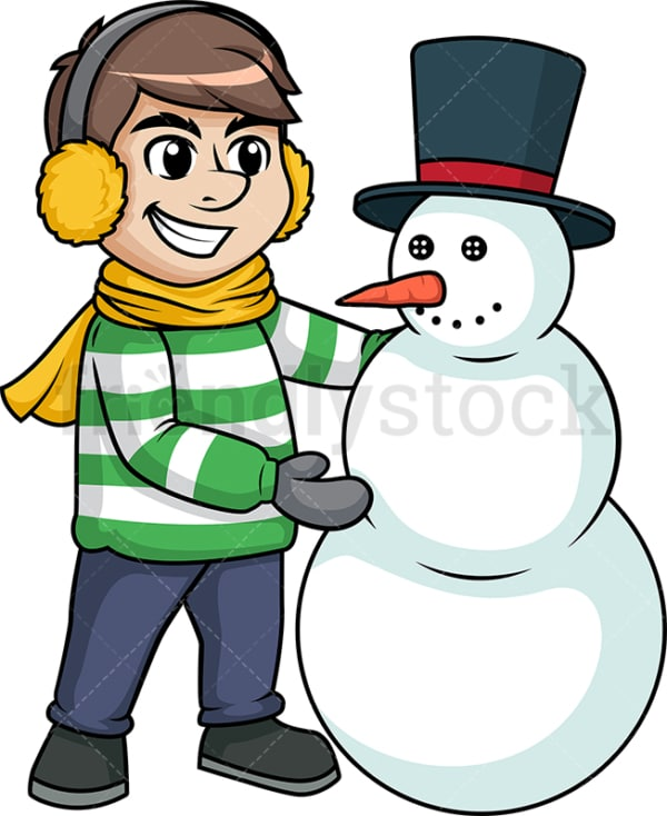 Man making a snowman. PNG - JPG and vector EPS (infinitely scalable).