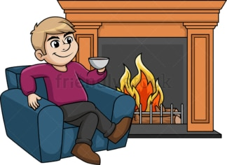 Man relaxing in front of fireplace. PNG - JPG and vector EPS (infinitely scalable).
