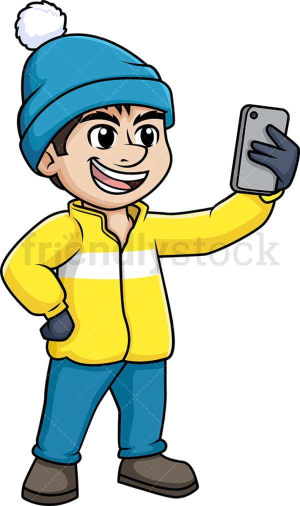 Man taking selfie in the winter. PNG - JPG and vector EPS (infinitely scalable).