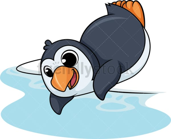 Penguin diving into water cartoon. PNG - JPG and vector EPS (infinitely scalable).