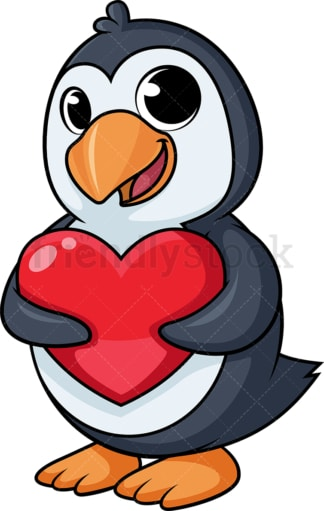 Penguin holding heart cartoon. PNG - JPG and vector EPS (infinitely scalable).