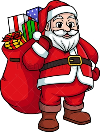 Santa claus bearing gifts. PNG - JPG and vector EPS (infinitely scalable).
