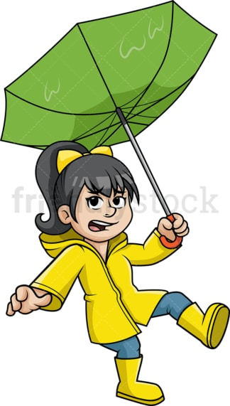 Girl caught in windy rain. PNG - JPG and vector EPS (infinitely scalable).