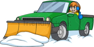 Woman in snow plow truck. PNG - JPG and vector EPS (infinitely scalable).