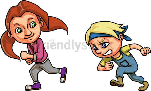 Boy and girl racing each other. PNG - JPG and vector EPS file formats (infinitely scalable). Image isolated on transparent background.