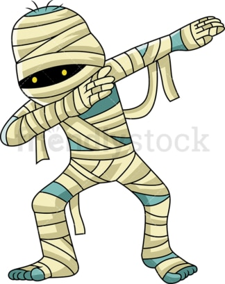 Dabbing egyptian mummy cartoon. PNG - JPG and vector EPS (infinitely scalable).
