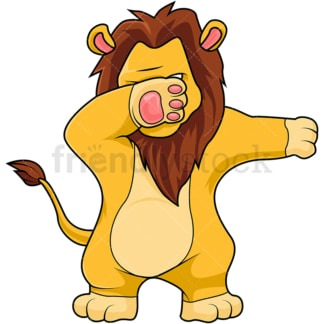 Dabbing lion cartoon. PNG - JPG and vector EPS (infinitely scalable).