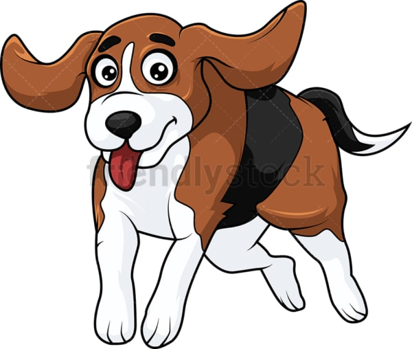 Excited beagle dog running. PNG - JPG and vector EPS (infinitely scalable).