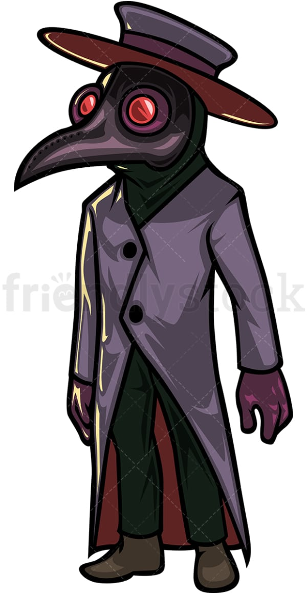 Medieval plague doctor cartoon character. PNG - JPG and vector EPS (infinitely scalable).
