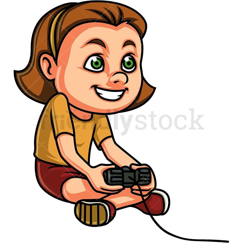 Little Girl Playing Video Games Cartoon Clipart Vector ...