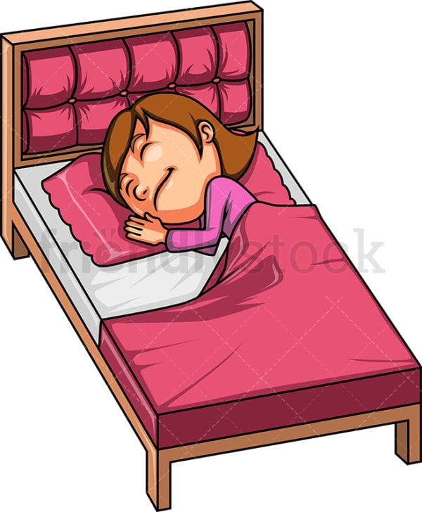 Child taking a nap in bed. PNG - JPG and vector EPS (infinitely scalable).