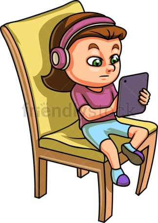 Little girl using tablet. PNG - JPG and vector EPS (infinitely scalable).