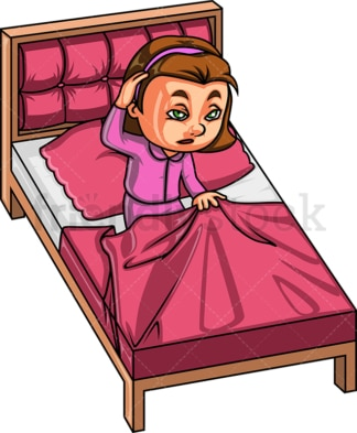 Little girl waking up in bed. PNG - JPG and vector EPS (infinitely scalable).