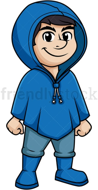 Man wearing blue waterproof raincoat. PNG - JPG and vector EPS (infinitely scalable).