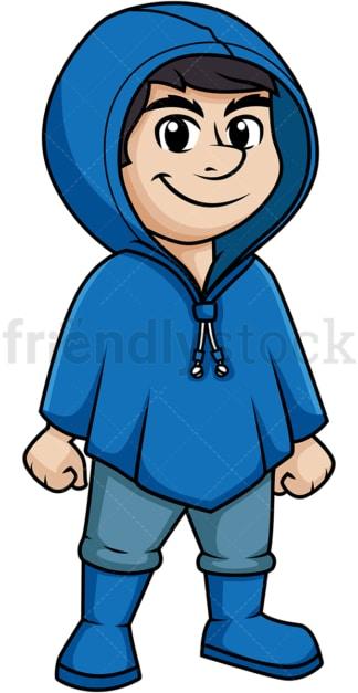 Man wearing blue waterproof raincoat. PNG - JPG and vector EPS (infinitely scalable).