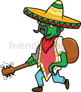 Mexican zombie with guitar and sombrero cartoon. PNG - JPG and vector EPS (infinitely scalable).