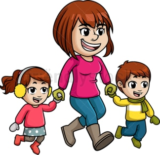 Mother walking kids in a winter day. PNG - JPG and vector EPS file formats (infinitely scalable). Image isolated on transparent background.