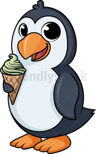 Penguin eating ice cream cartoon. PNG - JPG and vector EPS (infinitely scalable).