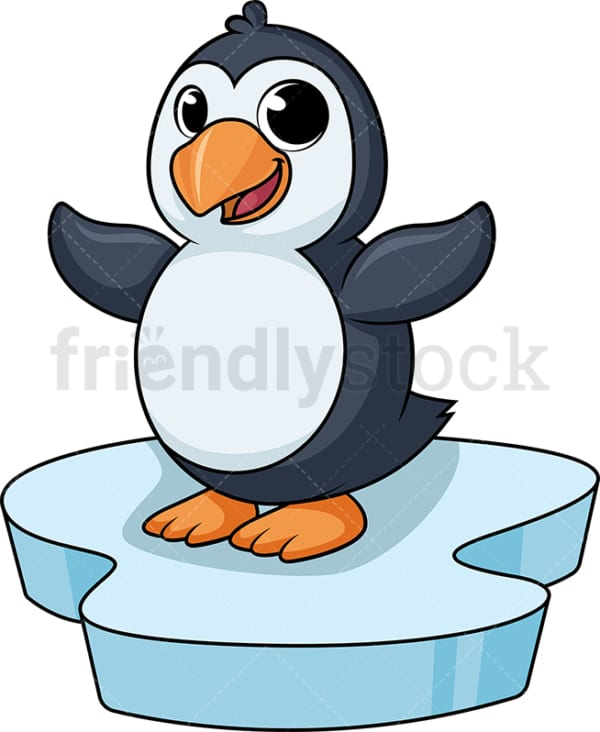 Penguin on iceberg cartoon. PNG - JPG and vector EPS (infinitely scalable).
