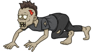 Scary zombie with mohawk crawling. PNG - JPG and vector EPS (infinitely scalable).