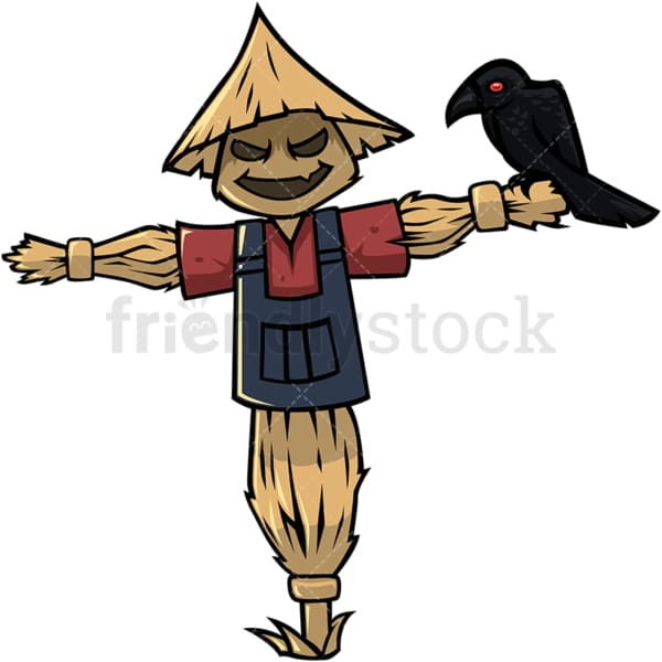 Traditional straw scarecrow cartoon character. PNG - JPG and vector EPS (infinitely scalable).