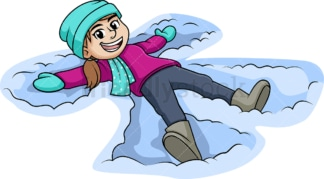 Woman making a snow angel. PNG - JPG and vector EPS (infinitely scalable).