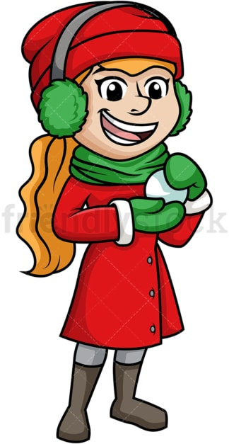 Girl making a snowball. PNG - JPG and vector EPS (infinitely scalable).